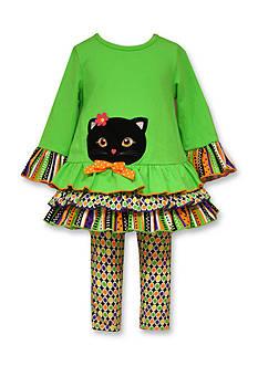 Bonnie Jean 2-Piece Black Cat and Printed Leggings Dress Set