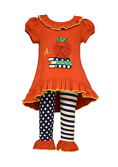 Bonnie Jean 2-Piece Back To School Apple Tunic and Leggings Set Toddler Girls