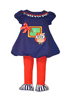 Bonnie Jean 2-Piece Back To School Owl Tunic and Leggings Set Toddler Girls