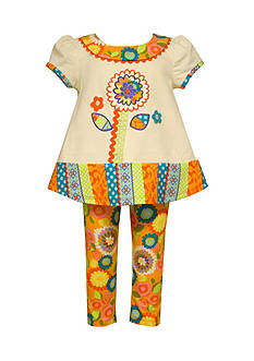Bonnie Jean 2-Piece Flower Mixed Media Tunic and Legging Set Toddler Girls