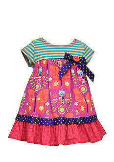 Bonnie Jean Butterfly Mixed Media Dress Toddler Girls