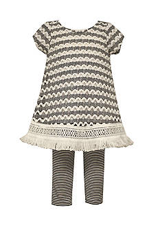 Bonnie Jean 2-Piece Crochet Knit Tunic and Leggings Set Toddler Girls