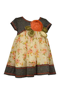 Bonnie Jean Stripe Knit to Floral Chiffon Dress Toddler Girls