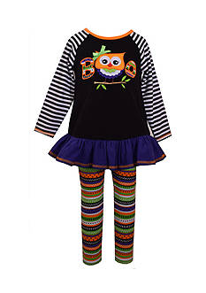 Bonnie Jean Owl Boo Halloween Dress and Legging 2-Piece Set Toddler Girls