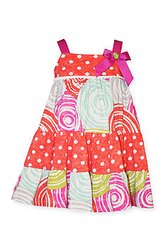 Bonnie Jean 2-Piece Polka Dot Swirl Tiered Dress and Bloomer Set