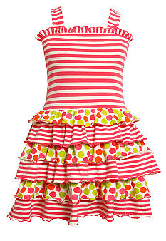 Bonnie Jean Stripe and Dot Knit Tiered Dress Toddler Girls