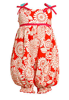 Bonnie Jean Orange Print Romper Toddler Girls