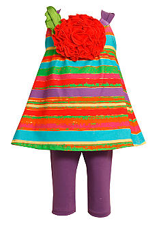 Bonnie Jean Stripe Flower Set Toddler Girls