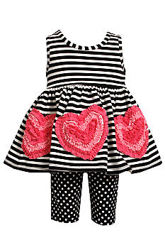 Bonnie Jean Stripe Heart Set Toddler Girls