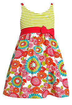 Bonnie Jean Stripe Floral Dress Toddler Girls