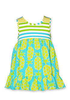 Bonnie Jean Stripe Pineapple Challis Dress Toddler Girls