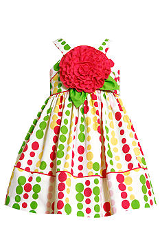 Bonnie Jean Big Flower Dot Dress Toddler Girls