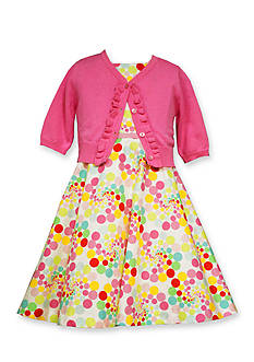 Bonnie Jean 2-Piece Polka Dot Dress and Cardigan Set Toddler Girls