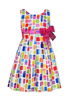 Bonnie Jean Abstract Square Shantung Dress Toddler Girls