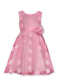 Bonnie Jean Dot Organza Fit-and-Flare Dress Toddler Girls