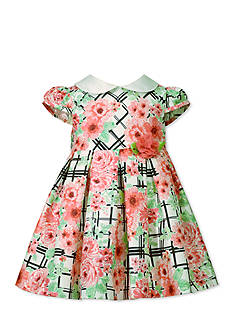Bonnie Jean Grid Floral Shantung Printed Dress Toddler Girls