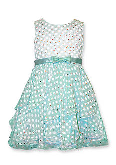 Bonnie Jean Cascade Sheer Dot Dress Toddler Girls