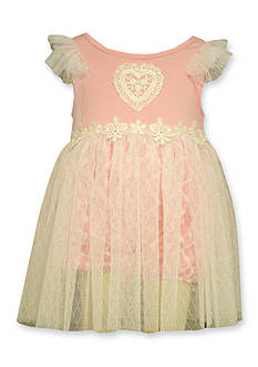 Bonnie Jean Lace Heart Mesh Skirt Dress