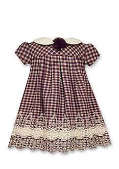 Bonnie Jean Lace Trim Plaid Short Sleeve Dress