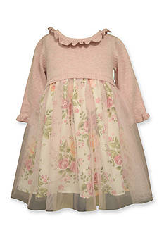 Bonnie Jean Sweater To Mesh Overlay Floral Dress Toddler Girls
