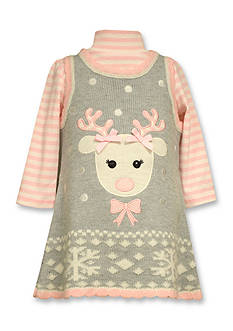 Bonnie Jean Reindeer Sweater Dress