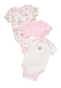 Little Me Cabbage Rose 3 Pack of Bodysuits