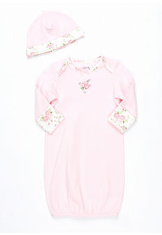 Little Me Newborn Cabbage Rose Gown with Hat