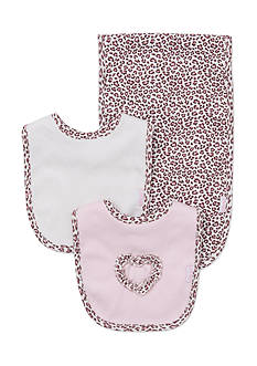 Little Me 3-Piece Leopard Bibs and Burp Cloth Set