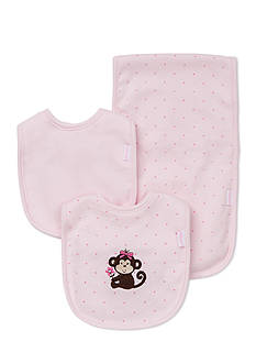 Little Me 3-Piece Pretty Monkey Bibs and Burp Cloth Set