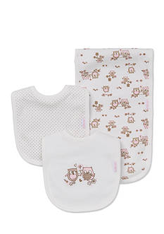 Little Me 3-Piece Sweet Owls Bib And Burp Cloth Set