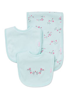 Little Me 3-Piece Floral Bib and Burp Cloth Set