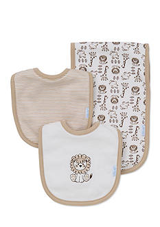Little Me 3-Piece Safari Bibs and Burp Cloth Set