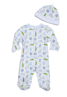 Little Me Safari Print Footie with Matching Hat