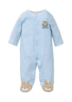 Little Me Chevron Bear Footie & Hat