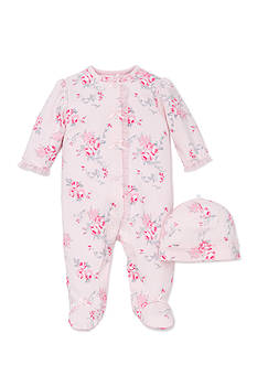 Little Me 2-Piece Scroll Rose Footie and Hat Set