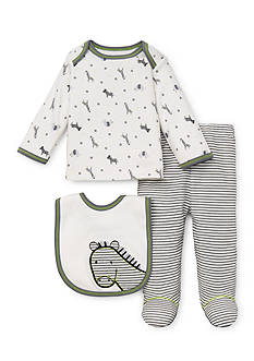 Little Me 3-Piece Zebra Shirt, Footed Pant and Bib Set