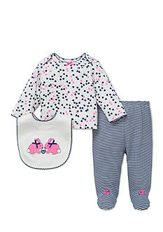 Little Me 3-Piece Bunny Heart Tunic, Bib, and Footed Pants Set