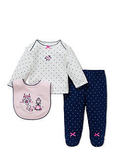 Little Me 3-Piece Princess Tunic, Bib, and Footed Pants Set