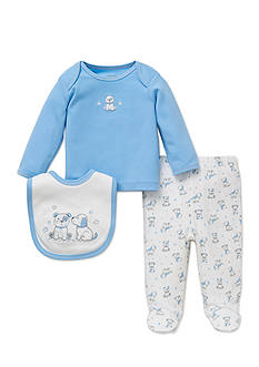 Little Me 3-Piece Puppy Tunic, Bib, and Footed Pants Set