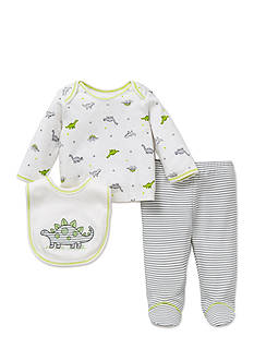 Little Me 3-Piece Dinosaur Tunic, Bib, and Footed Pants Set