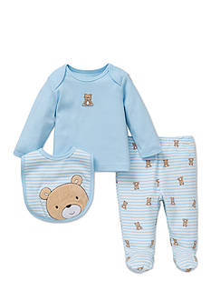 Little Me 3-Piece Striped Bear Tunic, Bib, and Pants Set