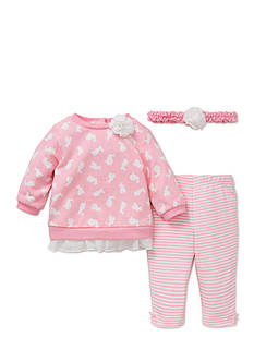 Little Me Piece Bunny Sweatshirt, Headband, Legging Set