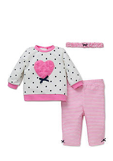 Little Me 3-Piece Heart Sweatshirt, Headband, and Leggings Set