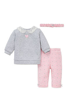 Little Me 3-Piece Lace Accented Sweatshirt, Headband, Leggings Set
