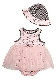 Little Me Butterfly Print Tutu Bodysuit  With Hat