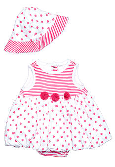Little Me Dot Stripe Popover with Matching Hat