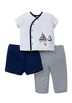 Little Me Sailboats 3-Piece Diaper Set