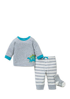 Little Me 3-Piece Dinosaur Tunic, Socks, and Striped Jogger Pants Set