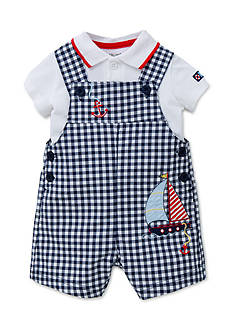Little Me Gingham Sail Shortalls Set
