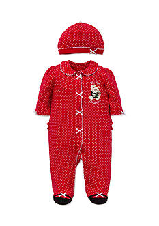 Little Me Red Holiday Bear Footie 2-Piece Set